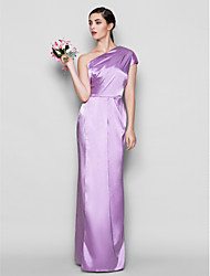 Floor-length Charmeuse Bridesmaid Dress Sheath / Column One Shoulder Plus Size / Petite with Side Draping
