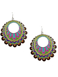 Fashion Women Bohemia Enamel Disc Drop Earrings