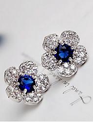 Brincos Curtos Cristal Moda Jóias de Luxo Strass Liga Verde Azul Jóias Para 2pçs