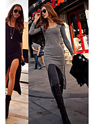 Women's Solid Color Black / Gray Dresses , Bodycon Round Long Sleeve