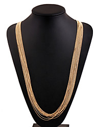 Alloy Gold Plated With Layered Tassel Fashion Necklace