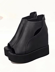 Women's Shoes Faux Leather Wedge Heel Wedges/Peep Toe/Gladiator Sandals Dress/Casual Black