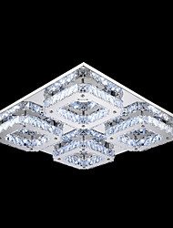 LED Crystal Flush Mount, 4 Light, Modern Transparent Electroplating Stainless Steel