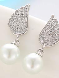 Exquisite Fashion Shining Angel Wings Sweet Zircon Pearl Drop Earrings