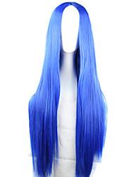 fashion girl must-have bleu perruque de longs cheveux raides de haute qualité naturelle