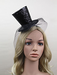 Women Satin/Net Vintage Style Fascinators/Hats With Wedding/Party Headpiece Black
