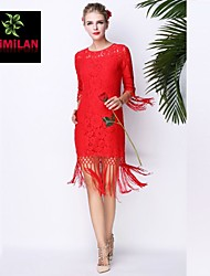 YIMILAN® Women's The New 2015 Red Unique Dress Lace Must Be Must Be