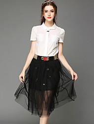 Large size women 2015 new fashion office OL temperament Lapel shirt put gauze dress skirt suit suit Ms. Women's CLOTHING