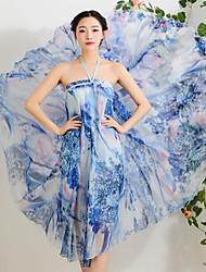 NUNEU   Women's Vintage Square Sleeveless Dresses (Chiffon)