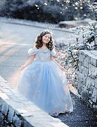 Flower Girl Dress Tea-length Satin/Tulle A-line Short Sleeve Dress(Headpiece Not Include)