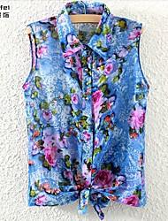 Women's Blue/Green Blouse Sleeveless