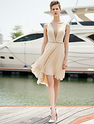 Cocktail Party Dress - Champagne Sheath/Column Jewel Short/Mini Chiffon
