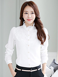 Women's Casual Lace Long Sleeve Regular Shirt (Chiffon/Lace)