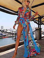 Women's Boho Sexy/Beach Inelastic Long Sleeve Maxi Dress (Chiffon)