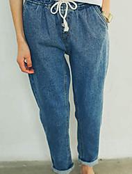 Women's Blue Denim Pant , Casual Sleeveless