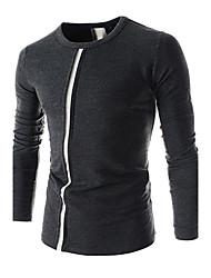 Masculino Camiseta Casual Misto de Algodão Manga Comprida Masculino
