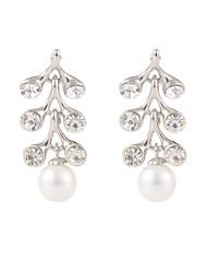 Elegant Rhinestone Leaves with Shell Pearl Dangle Earrings
