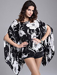 Women's Sexy Beach Casual Party Plus Size Print Chiffon Blouse Bikini Wrap