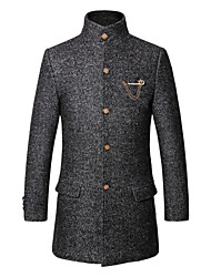 Men's Solid Casual / Work / Formal / Sport / Plus Sizes Trench coat,Wool / Cotton / Polyester Long Sleeve-Blue / Brown / Silver / Tan
