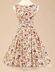 50s halter de las mujeres vestido sin mangas rockabilly estampado de flores de época (No incluye las enaguas)