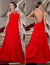 Fiesta formal Vestido - Rojo Corte A/Corte Princesa Cola Corte - Escote Joya Gasa Tallas grandes