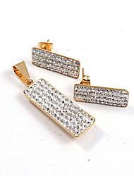 moda oblongas diamantes cz completos con incrustaciones de oro 316l acero inoxidable chapado (collar&pendientes) sistemas de la