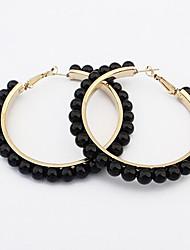 Hoop Earrings Pearl Alloy White Black Rainbow Jewelry 2pcs