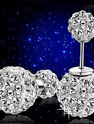 S925 argent sterling à double billes balle boucles d'oreille de diamant