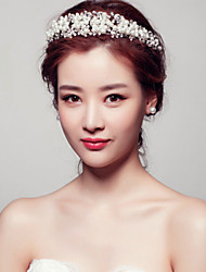 Bride's Flower Shape Pearl Rhinestone Forehead Wedding Headdress Crown 1 PC