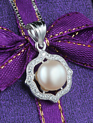 Silver Freshwater Pearl Necklace with High-grade Korean American Wind Micro Silver Pendant with a Dress
