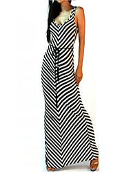Party/Cocktail Sexy Bodycon Dress,Striped U Neck Maxi Sleeveless Black Cotton Summer Inelastic Thin