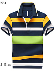 2015 summer new men's T-shirt Lapel Mens Size Stripe Polo Shirt Men's short sleeve T-shirt male tide