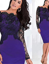 KICAI Women's Patchwork / Lace Blue / Red / Purple Dresses , Sexy / Bodycon /  Party Strapless Long Sleeve plus size
