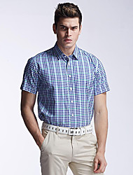 Men's Casual/Work/Sport Plaids & Checks Short Sleeve Regular Shirt (Cotton)