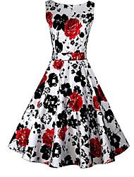 Vestidos ( Algodón )- Cosecha/Casual/Impresión Mujer