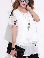 Women's Beach/Casual/Party/Work Micro-elastic Short Sleeve Mini Dress (Chiffon)