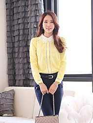 Women's Casual/Daily Simple Fall Shirt,Patchwork Long Sleeve Yellow Medium