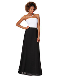 Formal Evening Dress - Black Sheath/Column Strapless Floor-length Chiffon