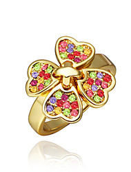 Sweet Flower Shape  Environmental Protection Material Alloy Female Ring (Gold Palting,Rose Gold Plating)(1Pc)