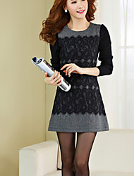 Women's Patchwork/Lace Gray Dress , Sexy/Plus Sizes Round Neck/Stand Long Sleeve Zipper/Lace