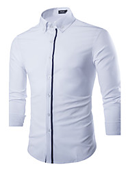 Men's Solid Casual / Work Shirt,Polyester Long Sleeve Blue / White