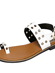 Women's Shoes Flat Heel Toe Ring Sandals Casual Black/White
