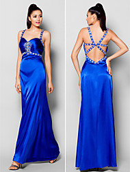 TS Couture® Formal Evening Dress - Beautiful Back Plus Size / Petite Sheath / Column Straps Floor-length Stretch Satin with Beading / Crystal