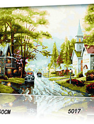 DIY Digital Oil Painting With Solid Wooden Frame Family Fun Painting All By Myself     Small Town5017