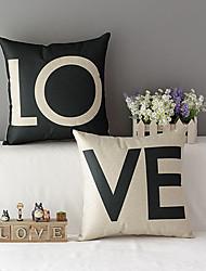 набор 2 современном стиле любовь рисунком хлопок / льняных декоративные наволочки