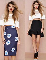Women's Patchwork White Dresses , Bodycon Round Short Sleeve