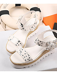Women's Shoes  Wedge Heel Creepers Sandals Casual Black/White/Silver