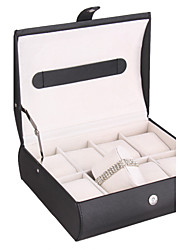 Non-personalized Glam Leatherette Jewelry Box With 8 Slots Watch Case Jewelry Display Box