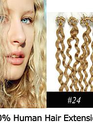 3 Set 20 Zoll remy Mikroring / Schleifenhaar lockigen 0,5 g / s Echthaar Haarverlängerungen 8 Farben für Frauen Schönheit