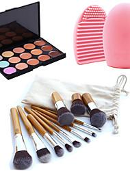 11pcs pinceles de maquillaje de cejas cosméticos fundación kabuki kits + 15 colores de maquillaje paleta de corrector + herramienta de